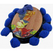 Broche Images d'épinal Pompons Bleu - N2