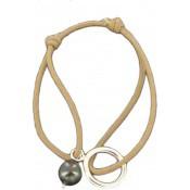 Bracelet Cordon Perle Unique Grise - Les bijoux de Pauline et Victoria