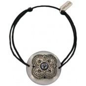 Bracelet cordon noir NACRE GM - Satellite