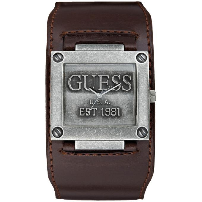 Montre Guess W0418G1 , Montre Bracelet De Force Cuir Marron Homme