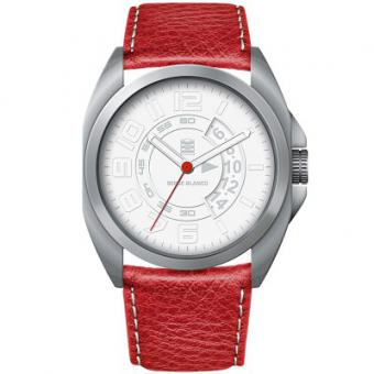 Montre Serge Blanco Full Black SB1200-10 - Montre Cuir Rouge Homme