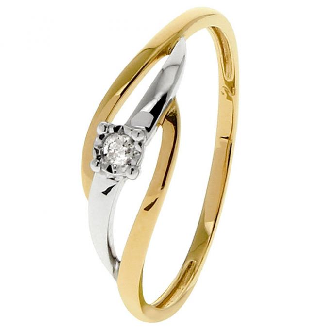 bague or blanc et jaune avec 3 diamants