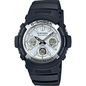 Montre Casio G-Shock G-Classic AWG-M100S-7AER - Montre Solaire Blanche Homme