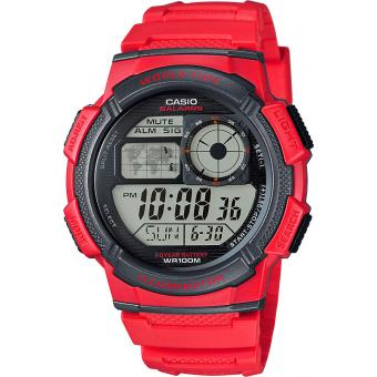 Montre Casio Collection AE-1000W-4AVEF - Montre Rouge Fuseaux Homme