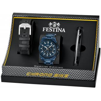 coffret montre festina chrono bike f16973 1 coffret montre chronobike bleu homme sur bijourama. Black Bedroom Furniture Sets. Home Design Ideas