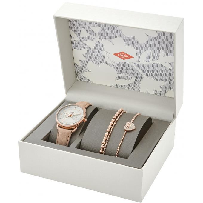coffret montre et bracelets fossil es4021set coffret montre et bracelets or rose sur bijourama. Black Bedroom Furniture Sets. Home Design Ideas