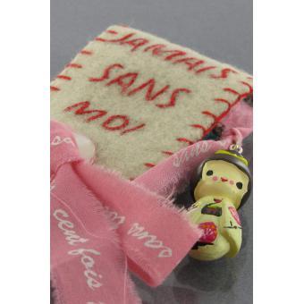 Broche Jamais Sans Moi Kokeshi Rose - N2