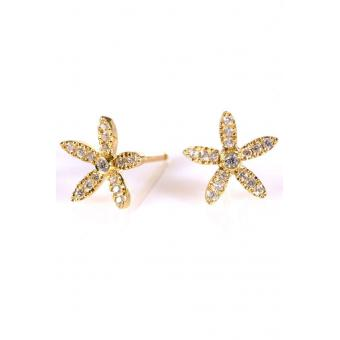 Boucles d'oreilles Fleur d'Edelweiss Or jaune - Corpus Christi