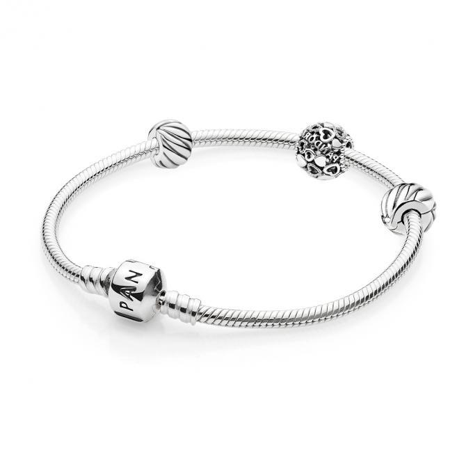 Coffret Noël Pandora B800700 , Bracelet Moments Clips Plumage Charm Coeur