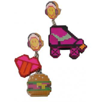 Boucles d'oreilles Smiley Pixel roller - N2