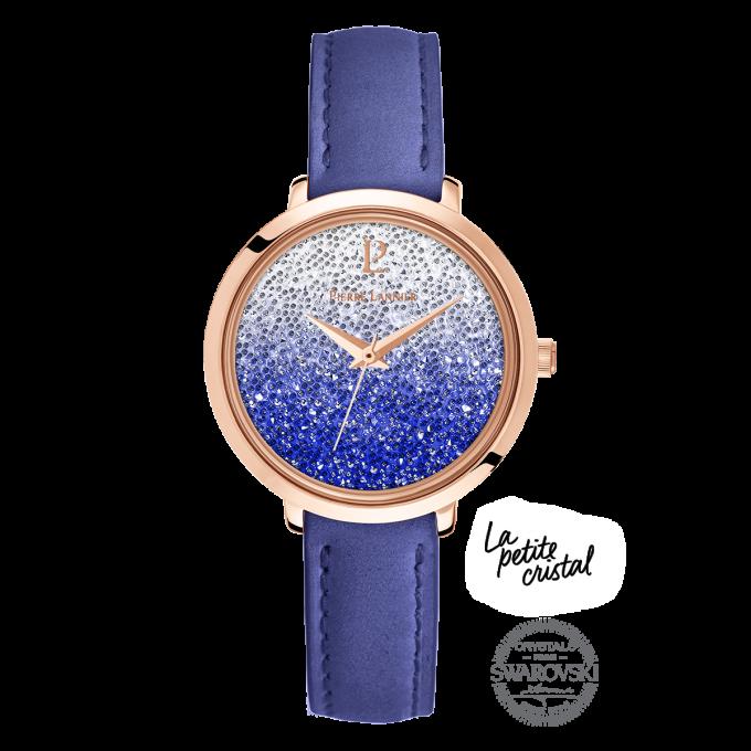 Montre Pierre Lannier 108G966 - Ligne Élégance Petite Cristal Cuir Bleu  Boitier Acier Doré Rose Cristaux 0b41a8e7a5d