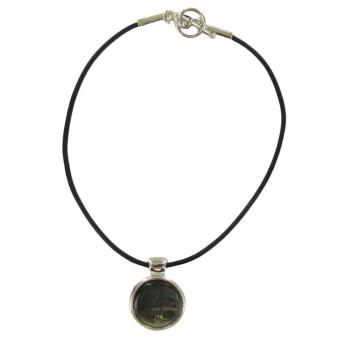 Cordon cuir 88-721 métal argenté nacre grise cuir noir