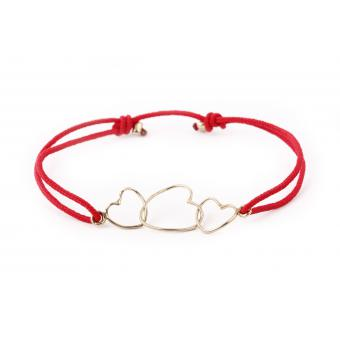 Bracelet Fil 3 Coeurs Rouge - Hop Hop Hop