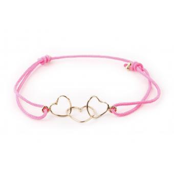 Bracelet Fil 3 Coeurs Rose Vif - Hop Hop Hop