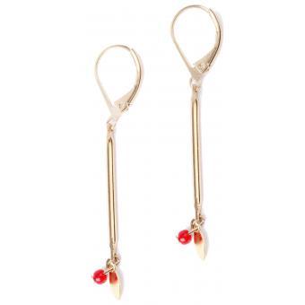 Boucles d'oreilles Barette Dorées et Perle Rouge - HOP HOP HOP - Hop Hop Hop