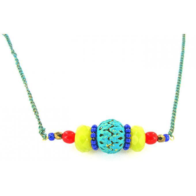 Bijoux Fantaisie Satellite : Collier satellite windflower dor? et multicolore bijoux
