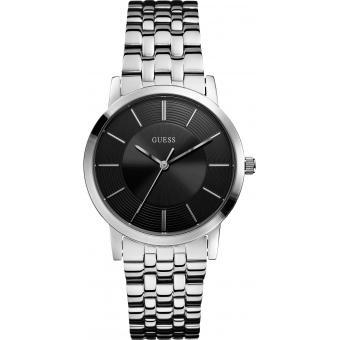 Montre Guess Cadran Noir Bracelet Acier Essential W0190G1 - Homme