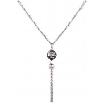 Collier PHEBUS CREATIONS 861-006 - Collier Perles Noires et Grises Femme
