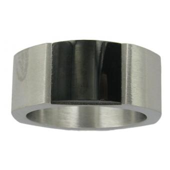 Bague Stahl Design 00244-5 - Bague Acier Noire Argentée Homme