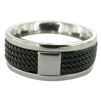 Bague Stahl Design 00245-5 - Bague Acier Noire Tressée Homme