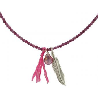 Collier Plume Mini Perles Roses - Delphes Bijoux - Delphes