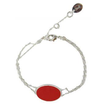 Bracelet Plumetis Argent & Rouge - SKALLI - Skalli