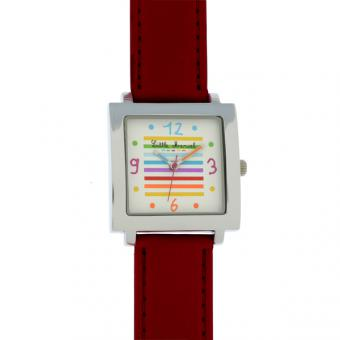 Montre Little Marcel LM08RDPU - Montre Carrée Rouge Blanche Femme
