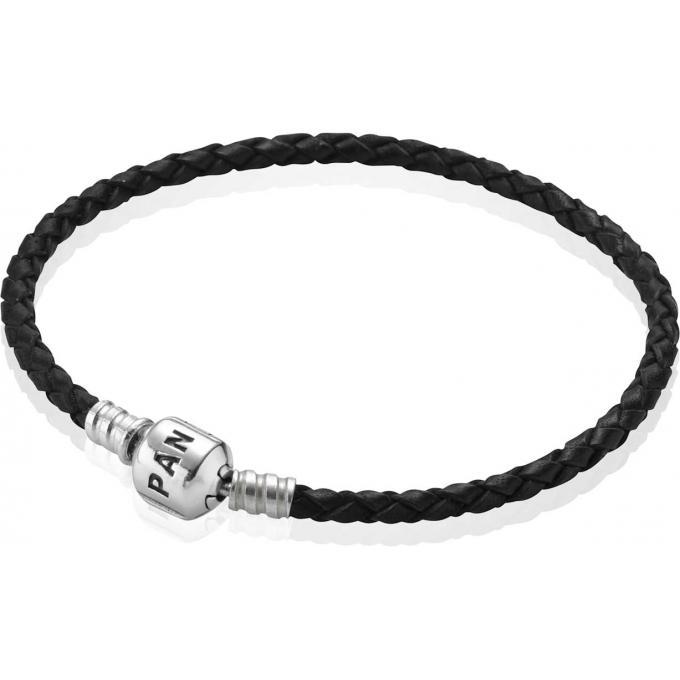 Bracelet Cuir Noir et Fermoir Argent Simple tour Pandora , 590705CBK,S