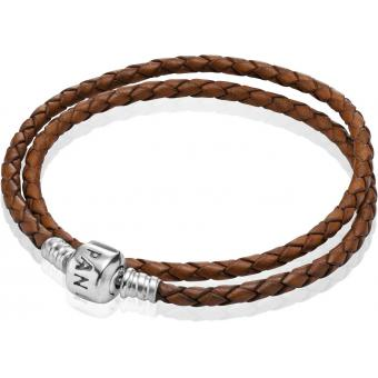 Bracelet Cuir Marron Double Tour Pandora - 590705CBN-D