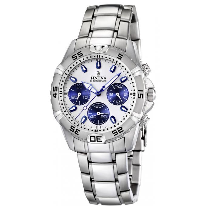 montre festina contact f16635 1 montre acier bleue blanche homme sur bijourama montre homme. Black Bedroom Furniture Sets. Home Design Ideas