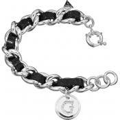 Bracelet Guess Bijoux Chaîne Cuir Noir UBB71228