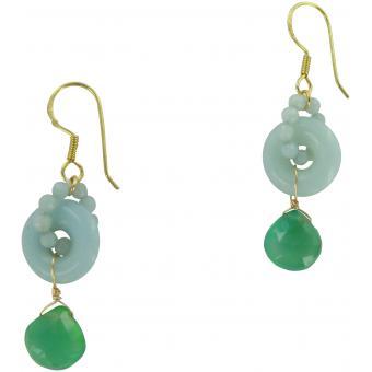 Boucles d'oreilles Plaqué Or, Agate & Amazonite Shogun - Laure Devèze