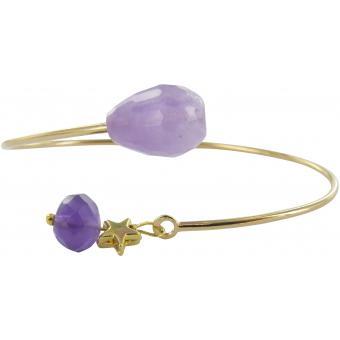 Bracelet Plaqué Or, Améthyste Aster - Laure Devèze