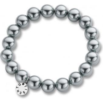 Bracelet Ti Sento Femme 2524PG - Bracelet Perles Grises Métallisées Argent - Ti Sento