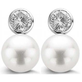 Boucles d'oreilles Ti Sento Femme 7561PW - Boucles d'oreilles Perles Blanches Argent - Ti Sento