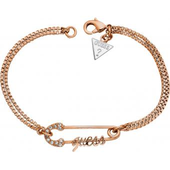 Bracelet Guess CORE ROSE GOLD UBB11390 - Bracelet Epingle Logo Chaîne Double Femme