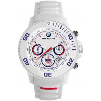 Montre Ice Watch Ice BMW Motorsport BM.CH.WE.BB.S.13 - Montre Chrono Silicone Blanche Logo BMW Homme