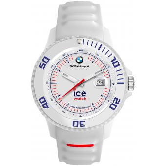 Montre Ice Watch Ice BMW Motorsport BM.SI.WE.B.S.13 - Montre Silicone Dateur Blanche Logo BMW Homme