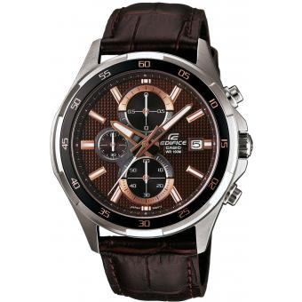 Montre Casio Edifice EFR-531L-5AVUEF - Montre Chrono Cuir Marron Homme