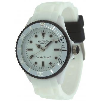 Montre Madison Candy Mini Duo SL4583BXX - Montre Ronde Bicolore Blanche Noire Femme