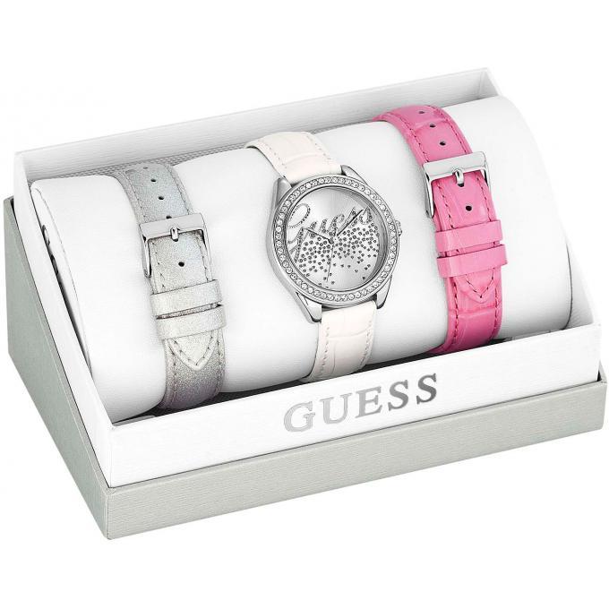 coffret montre guess w0201l2 bracelets argent blanc rose femme sur bijourama montre femme. Black Bedroom Furniture Sets. Home Design Ideas