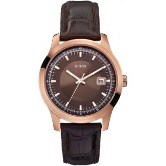 Montre Guess W0250G2 - Montre Cuir Marron Croco Dateur Homme