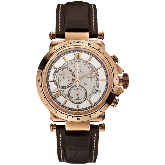 montre gc x44001g1 montre cuir marron et cadran rond or rose homme sur bijourama montre. Black Bedroom Furniture Sets. Home Design Ideas