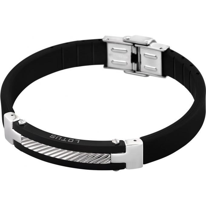 Bracelet Lotus Style LS1522,2,2 , Bracelet Silicone Noir Acier Homme