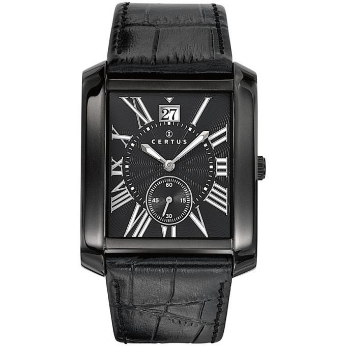 montre certus 610988 montre noire cuir rectangulaire homme sur bijourama montre homme pas. Black Bedroom Furniture Sets. Home Design Ideas