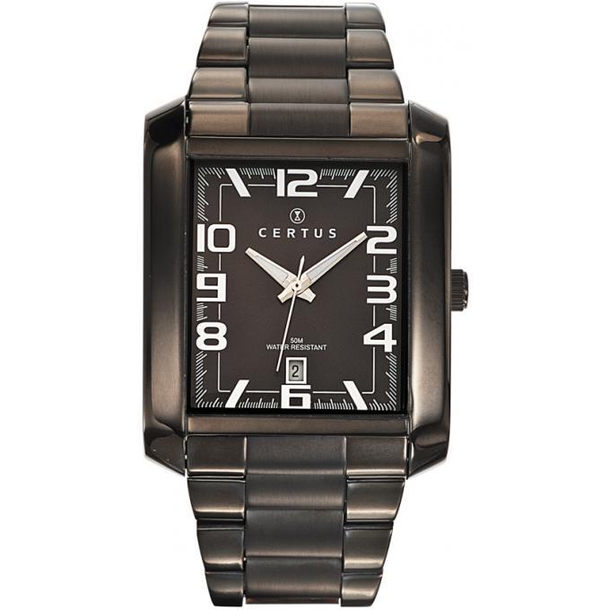 montre certus 616265 montre acier noire rectangulaire homme sur bijourama montre homme pas. Black Bedroom Furniture Sets. Home Design Ideas