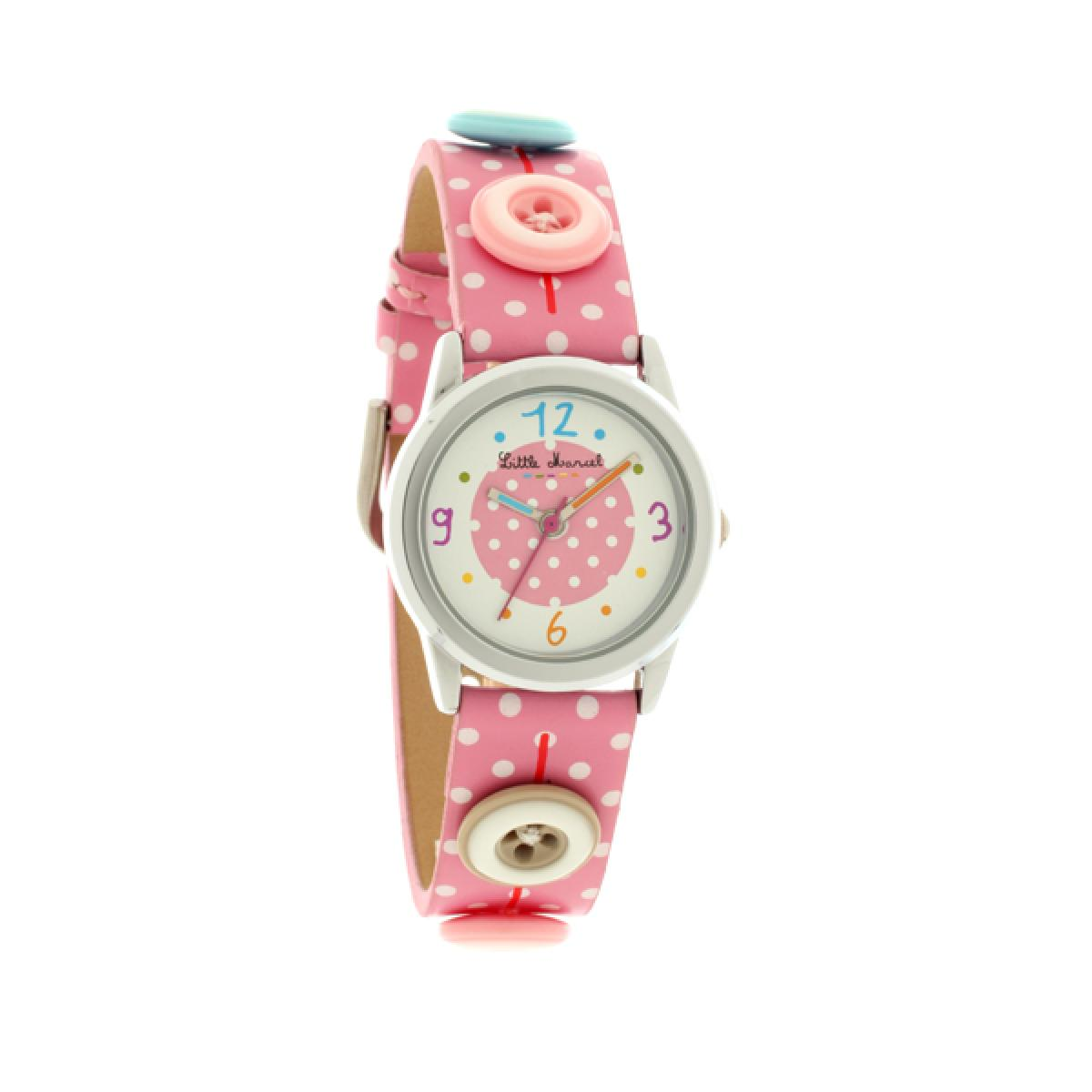 Montre Little Marcel LM32PKC - Montre Rose Pois Boutons Enfant
