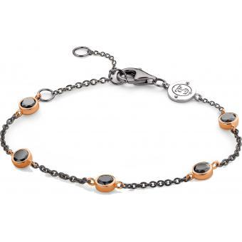 Bracelet Argent et Plaqué Or Ti Sento - Bracelet Noir Rose Zirconium Femme - Ti Sento