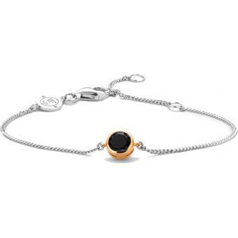 Bracelet Argent et Plaqué Or Ti Sento - Bracelet Argent Noir Zirconium Femme - Ti Sento