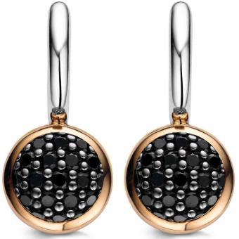 Boucle d'Oreilles Argent et Plaqué Or Ti Sento - Boucles d'oreilles Argent Noires Zirconium - Ti Sento